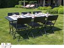 Robuste und stabile Gartengarnitur mit 6 Stühlen, Kunststoff, klappbar, schwarz
