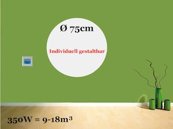 Heizpaneel rund / Infrarotheizung 350W, Durchmesser 75 cm, Räume 9-18m³