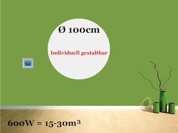 Heizpaneel rund / Infrarotheizung 600W, Durchmesser 100 cm, Räume 15-30m³