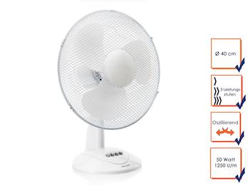 Weißer Tischventilator, 3 Stufen, Ø 40cm, Luftstrom: 3509m³/Stunde, oszillierend