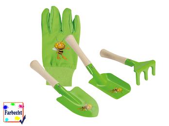 3-teiliges Sandspielzeug inkl. Gartenhandschuhe für Kinder -DIE BIENE MAJA-