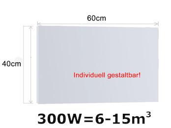 Infrarotheizung 300W, 60x40cm, keramische Oberfläche, Hochglanz weiß, bedruckbar