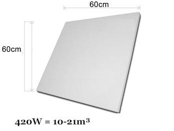 Infrarotheizung 420W, 60x60cm, keramische Oberfläche, Hochglanz weiß, bedruckbar