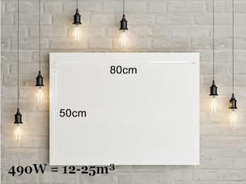 Infrarotheizung 490W, 80x50cm, keramische Oberfläche, Hochglanz weiß, bedruckbar