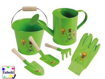 Gartenspielzeug für Kinder -DIE BIENE MAJA- Sandspielzeug Eimer Kanne Handschuhe