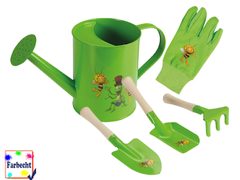Gartenspielzeug für Kinder -DIE BIENE MAJA- Sandspielzeug Gießkanne Handschuhe