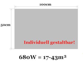 Infrarotheizung 680W, 100x50cm, Oberfläche keramisch, Hochglanz weiß, bedruckbar