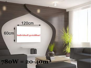 Infrarotheizung 780W, 100x60cm, Oberfläche keramisch, Hochglanz weiß, bedruckbar