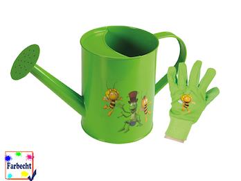 Gartenspielzeug für Kinder -DIE BIENE MAJA- Gießkanne und Handschuhe