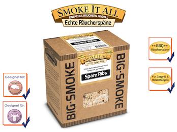 BBQ Räucherspäne Räuchermischung mit Gewürzen 800 gr. - Spare Ribs -