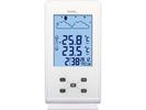 Wetterstation mit Touchsensor, Alarm & Snoozefunktion , weiß-klavierlackoptik