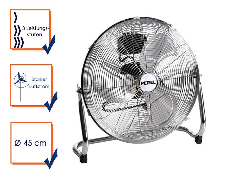 Bodenventilator, Windmaschine, Ventilator, Lüfter, 3 Stufen, 140W, Ø 45cm,