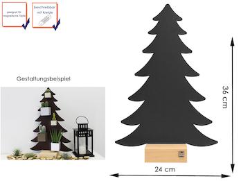 Magnettafel Tannenbaum Metall Anthrazit mit Holzfuß, beschreibbar, 24 x 36 cm