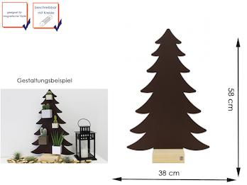 Magnettafel Tannenbaum Metall in Kastanie mit Holzfuß, beschreibbar, 38 x 58 cm