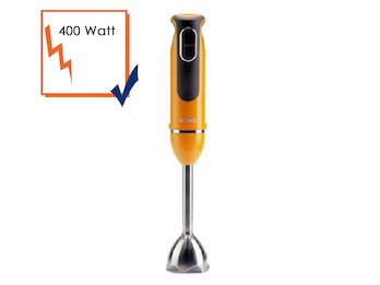 Stabmixer 400 Watt, orange, 2 Geschwindigkeitsstufen, Soft-Touch-Schalter