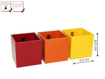 3er Set magnetische Töpfe Würfel, Ø 6 cm, Rot, Orange, Gelb- für Wandgestaltung