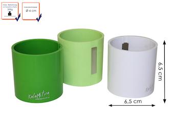 3er Set magnetische Töpfe Zylinder, Ø 6cm, Grün, Limegrün, Weiß, Wandgestaltung