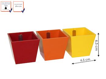 3er Set magnetische Töpfe Pyramide, Ø 6cm, Rot, Orange, Gelb- für Wandgestaltung