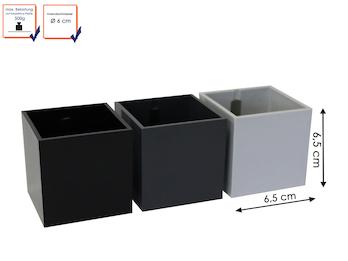 3er Set magnetische Töpfe Würfel, Ø 6 cm, Schwarz, Dunkelgrau, Hellgrau -Deko