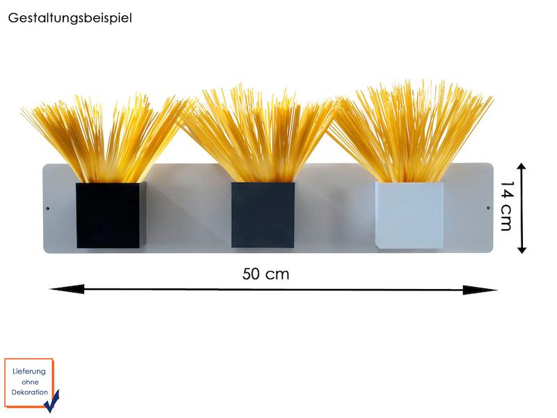 Set Magnettafel silber 14 x 50 cm mit drei magnetischen Töpfen Würfel Ø 9 cm