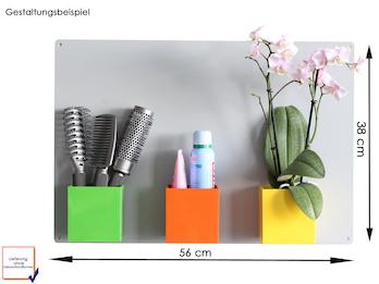 Set Magnettafel silber 56 x 38 cm mit drei magnetischen Töpfen Würfel Ø 9 cm