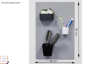 Set Magnettafel silber 56 x 38 cm mit drei verschiedenen magnetischen Töpfen