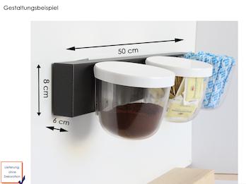 Set Magnettafel Balken 50 x 8cm mit 3 Töpfen Kugel Transparent mit Deckel Ø 10cm