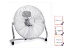 Bodenventilator in Chrom, Ø 40cm, 70 Watt, 3 Leistungsstufen, 130° Winkel