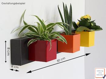 Set Magnettafel Balken 50 x 8cm mit 3 Töpfen Würfel Ø 6 cm in Rot, Orange, Gelb