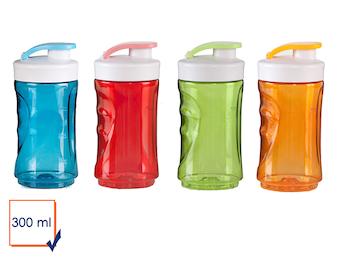4er-Set Ersatzflaschen für Smoothie Maker, 300 ml, blau+rot+grün+orange