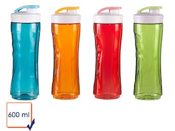 4er-Set Ersatzflaschen / Trinkflaschen, 600 ml, blau+rot+grün+orange