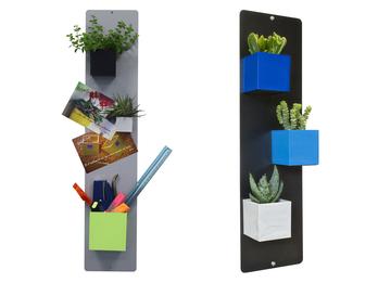 Magnettafel aus Metall mit Holzfuß-für Magnetische Töpfe als Aufbewahrung, Deko