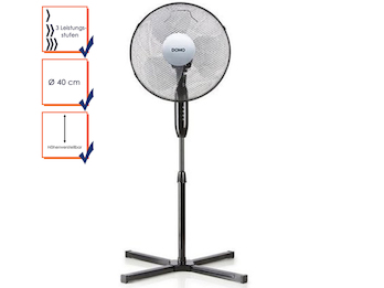 Standventilator, Lüfter, Ventilator Ø 40 cm 3 Stufen, höhe 120 cm, schwarz