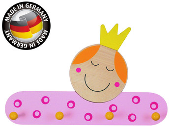 Kindergarderobe aus Holz, Made in Germany, 4 Haken, 40x30cm, Design PRINZESSIN