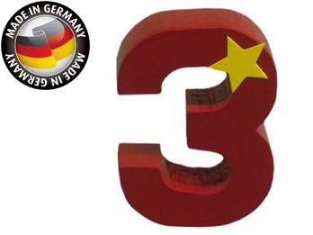 Geburtstagszahl aus Holz, passend für Niermann-Dekoartikel, Happy-Zahl 3