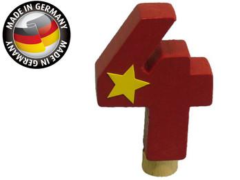 Geburtstagszahl aus Holz, passend für Niermann-Dekoartikel, Happy-Zahl 4
