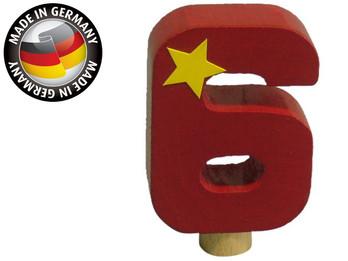Geburtstagszahl aus Holz, passend für Niermann-Dekoartikel, Happy-Zahl 6