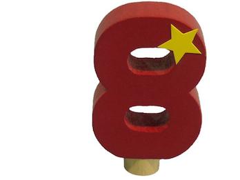 Geburtstagszahl aus Holz, passend für Niermann-Dekoartikel, Happy-Zahl 8