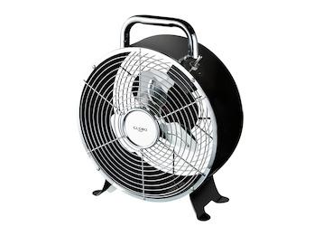 Schwarzer Ventilator VENTI mit 3 Rotorflügel, Schutzgitter,Schalter & 1,5m Kabel