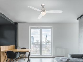 Deckenventilator PREMIER mit Licht & Fernbedienung, Ø 132cm, Flügel transparent