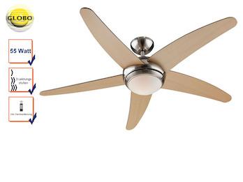 Deckenventilator FABIOLA mit Licht und Fernbedienung, Ø 132cm, Flügel Ahorn