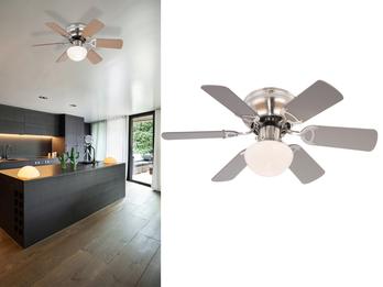 Deckenventilator UGO, Licht und Zugschalter, 2 Flügelfarben Buche / graphit