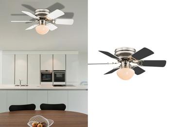 Deckenventilator UGO, Licht, Zugschalter, 2 Flügelfarben Weiß / Graphit