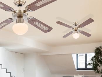 Deckenventilator CHAMPION, Licht und Zugschalter, Altmessing, 2 Flügelfarben
