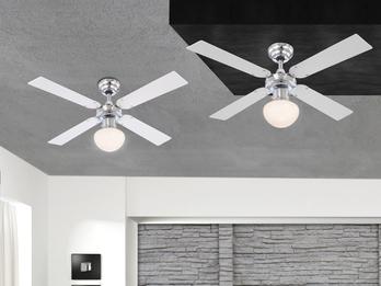 Deckenventilator CHAMPION, Licht & Zugschalter, Chrom, 2 Flügelfarben