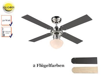 Deckenventilator CHAMPION, Licht und Zugschalter, 2 Flügelfarben Graphit / Ahorn