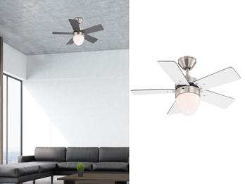 Deckenventilator MARVA 76 cm, Licht und Zugschalter, Flügelfarben weiß / graphit