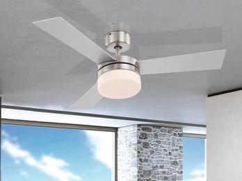 Deckenventilator ALANA 105cm, Licht & Fernbedienung, Flügel Silber/Buche