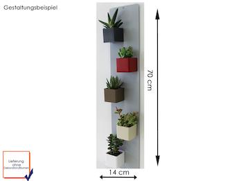 Set Magnettafel silber 14 x 70 cm mit 5 magnetischen Töpfen Mini Würfel Ø 6 cm