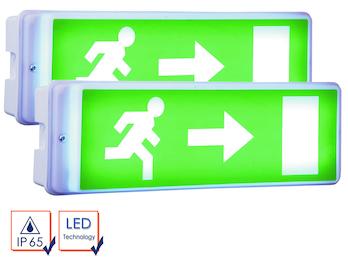 2er-Set LED Notbeleuchtung inkl. Ersatzbatterie u. 4 Richtungsaufkleber, IP65